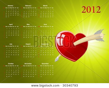 Vector American calendar with glossy heart for Valentines Day, starting from Sundays