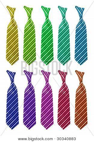 Diez corbata multicolor aislado
