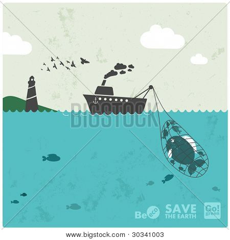 fishing industry background - eco balance