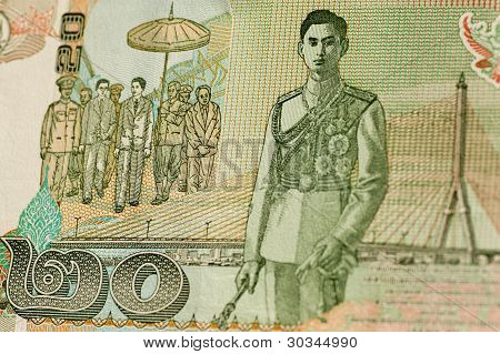 King Rama VIII on Thai 20 Baht banknote