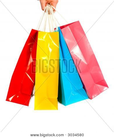 Shopping Bags On White