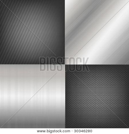 4 Textura metal fondos, Fondo de Vector