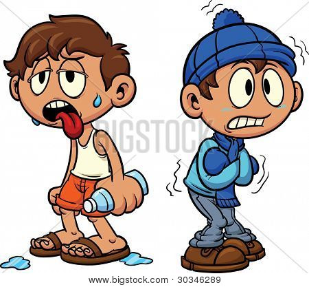 Cartoon kid in hot and cold weather. Vector illustration, Each in a separate layer for easy editing.