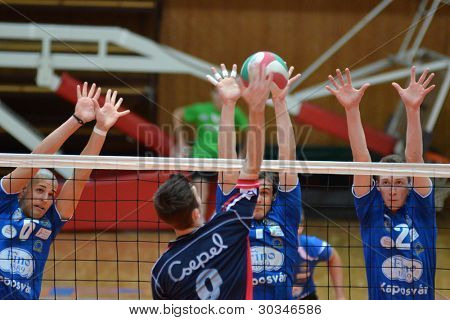 KAPOSVAR, HUNGARY - FEBRUARY 23: Bence Bozoki (2) in action at a Hungarian volleyball National Championship game Kaposvar (blue) vs. Csepel ( deep blue), on February 23, 2012 in Kaposvar, Hungary.