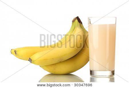 Bunch of bananas with banana juice isolated on white