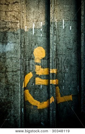 Spray-painted Person In Wheelchair Symbol