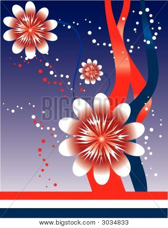 4Th Of July Floral Abstract Background