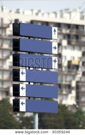 Multidirectional Blank Metal Signpost