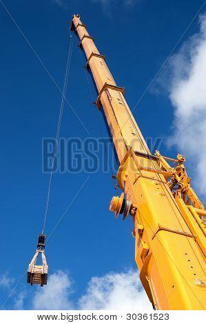 Yellow Mobile Crane Hydraulic Boom
