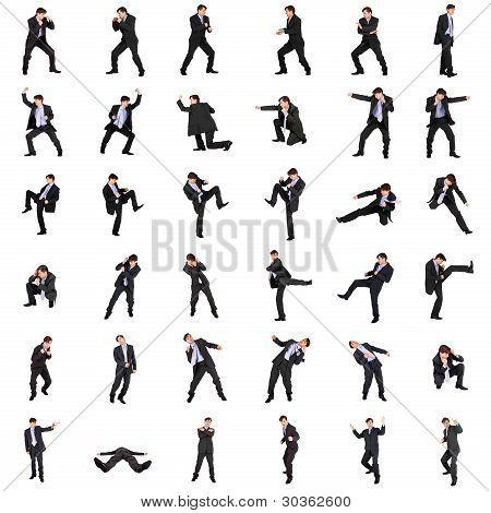Set Of Fighting Businessmen On White