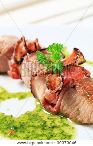 Grilled pork skewer with sauce