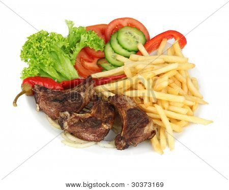 Mutton-chop with french fries and vegetable