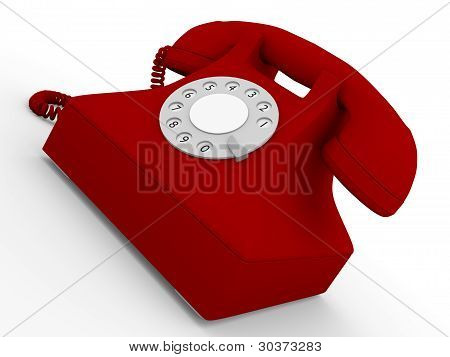 Old Telephone In Red