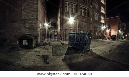 Alley Dumpster at Night