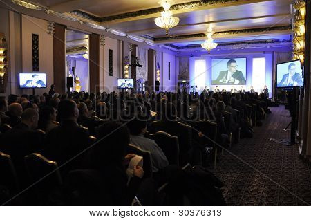 LONDON - JANUARY 30: Conference in the Sheraton Park Lane Ball Room during the 59th UICH les Clefs d'Or International Congress at the Sheraton Park Lane on January 30, 2012 in London