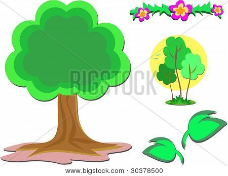 Mix of Trees, Plants, and Flowers