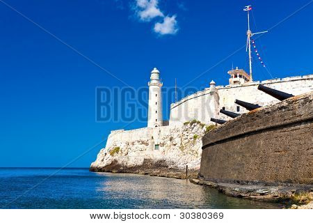 The famous castle and lighthouse of El Morro  in the bay of Havana
