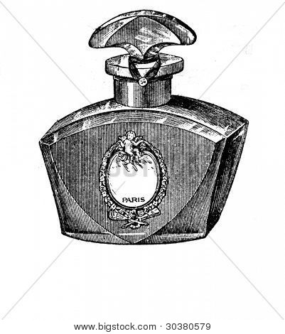 A bottle of perfume. Illustration from