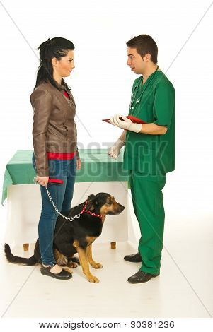 Vet Man Explaining Owner Treatment