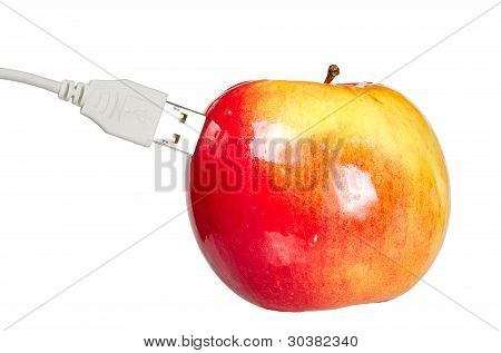 Red Juicy Fresh Apple With Usb Isolated