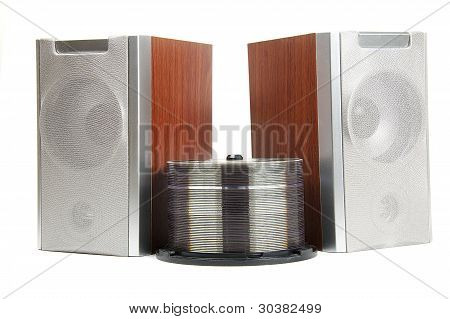 Two Wooden Music Loudspeakers Isolated