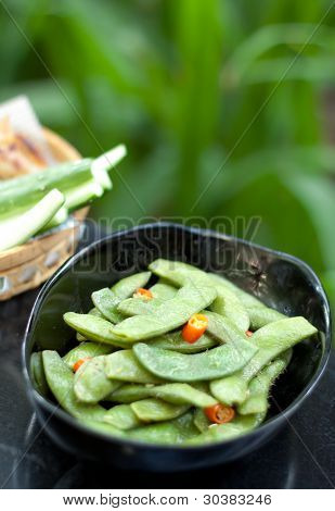Green Beans With Red Chilli In Black Bowl
