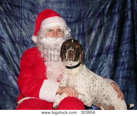 Dog Begging Santa For Presents