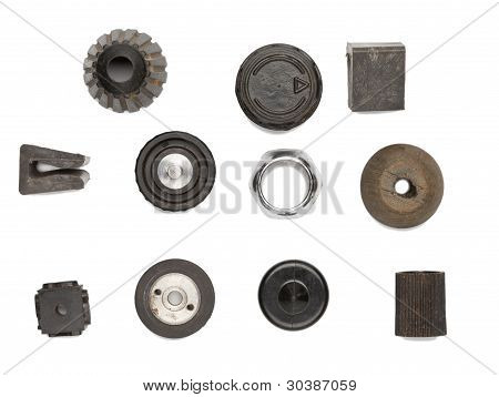Set Of Round Mechanical Objects