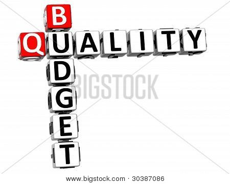3D Budget Quality Text Crossword