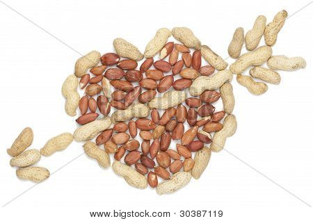Peanut Heart With Arrow On White Background