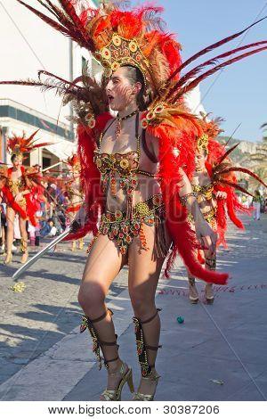 Sesimbra, Portugal - February 20:Samba Dancer In The Sesimbra Carnival - Equal To The Brazilian Car