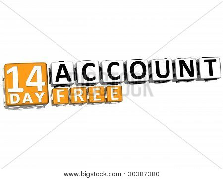 3D Get 14 Day Account Free Block Letters