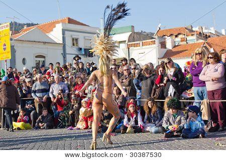 Sesimbra, Portugal - February 20: Samba Dancer In The Sesimbra Carnival