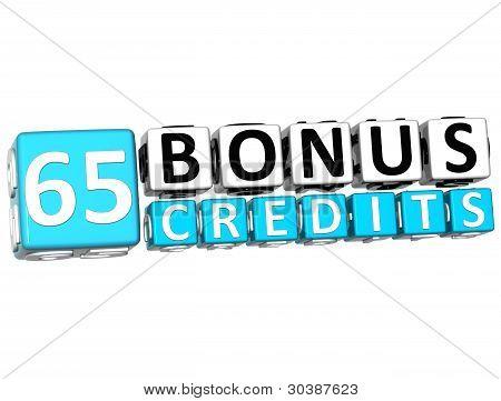 3D Get 65 Bonus Credits Block Letters