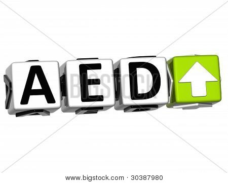 Currency Aed Rate Concept Symbol Button On White Background