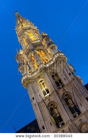 Tower of the Town Hall of Grand Place, Brussels