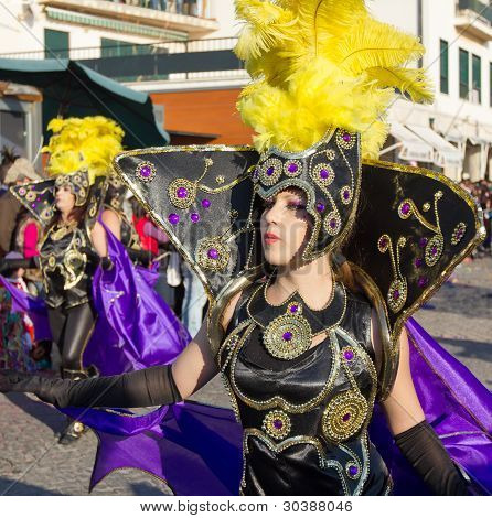 SESIMBRA, PORTUGAL - FEBRUARY 20: Samba dancer in the Sesimbra Carniva