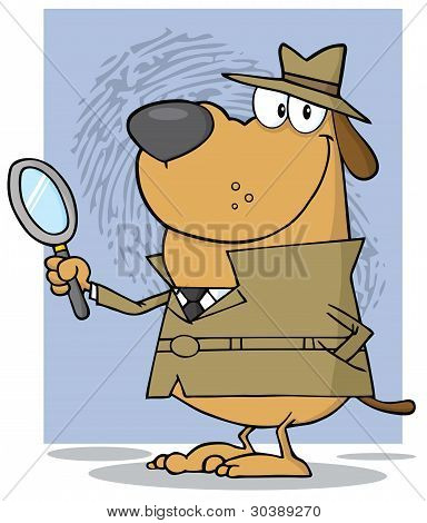 Smiling Detective Doggy Holding A Magnifying Glass
