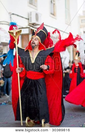 Sesimbra, Portugal - February 20: Man Dressed Up As