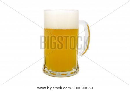 a glass of unfiltered beer