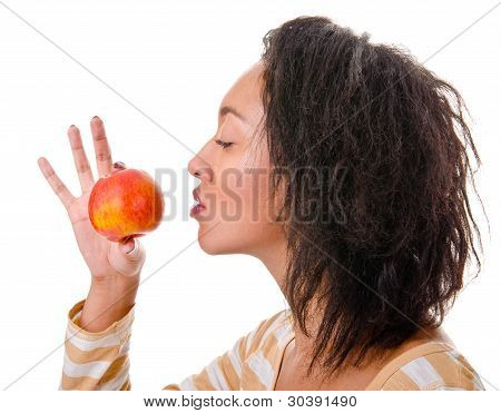 girl with a ripe apple