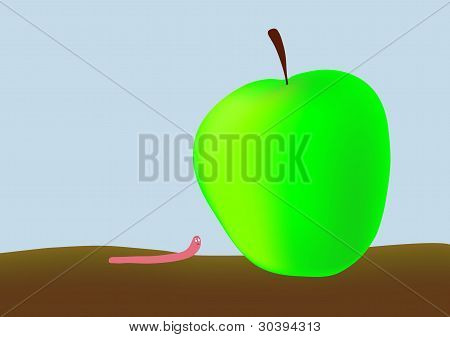 Worm And Big Apple - Vector