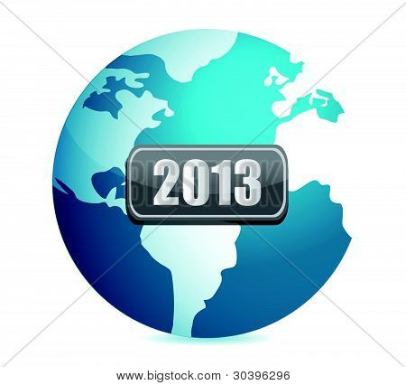 2013 globe illustration design over white background