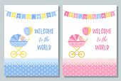 Baby Shower Card. Vector. Cute Pink And Blue Invite Banner. Baby Boy, Girl Design With Newborn Kid,  poster