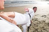 stock photo of young adult  - Young adult men practicing Karate on the beach - JPG