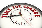 Time For Change. Clock With Text. Analog Clock With Red Text Time For Change. Isolated. 3d Illustrat poster