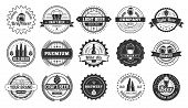 Beer Badges. Beers Pub, Lager Bottle And Hipster Craft Beer Badge Isolated Vector Illustration Set poster