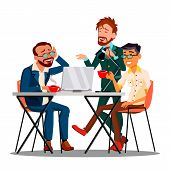 Informal Time At Work Characters Employees Vector. Businessmen Drinking Coffee Or Tea, Smiling And D poster