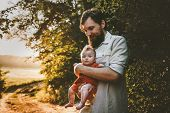Father Walking With Baby Daughter Family Lifestyle Outdoor Dad And Child Traveling Together Parentho poster