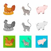 Isolated Object Of Breeding And Kitchen  Symbol. Collection Of Breeding And Organic  Stock Symbol Fo poster